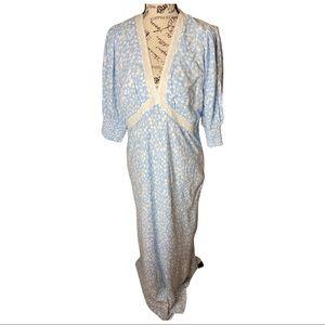 Rixo Blue/white floral dress V-neck